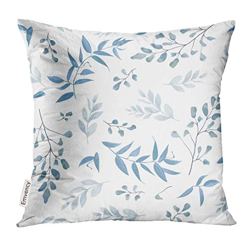 (UPOOS Throw Pillow Cover White Abstract with Light Watercolor Blue Color Dusty Leaves Fern Greenery Forest Herbs Plants Tender Elegant Decorative Pillow Case Home Decor Square 20x20 Inches Pillowcase)