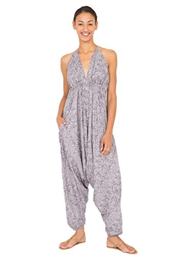 likemary Harem Jumpsuit Halter Hareem Holiday Romper for Women Grey Abstract Print