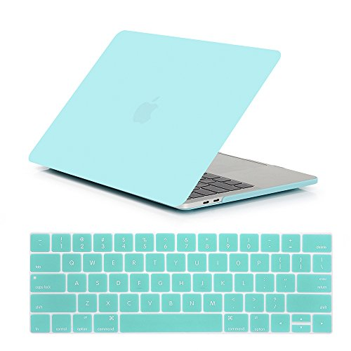 Se7enline MacBook Pro 13 Case 2016 2017 2018 Soft-Touch Plastic Hard Case Cover for Macbook Pro 13-inch with/without Touch Bar and Touch ID with Keyboard Cover Set, Turquoise Blue