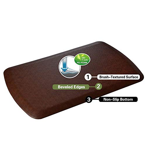 Amcomfy Anti Fatigue Kitchen Mat Standing Desk Mat Cushioned Comfort Floor Pads for Home Kitchen Offices Standup Desks Garages(22 x 36 x 7/8 Inches, Dark Brown)
