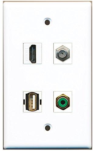 RiteAV - Cable coaxial de 1 puerto HDMI 1 puerto RCA verde 1 puerto para televisor