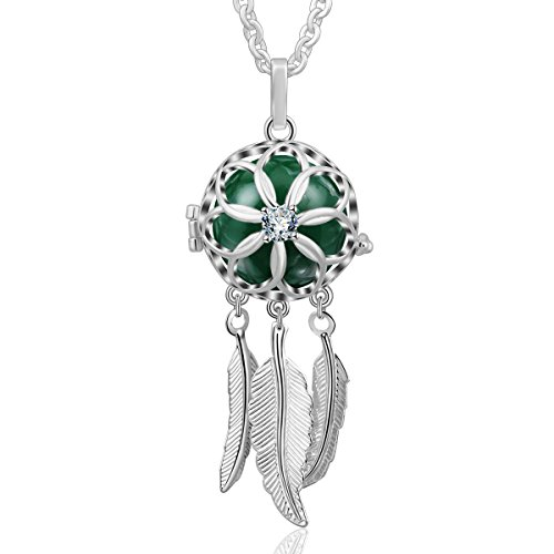 AEONSLOVE Good Luck Dream Catcher Feather Harmony Ball Angel Chime Bell Pendant Long Chain Necklace, Jewelry Gift for Women - Mexican Pendant Turquoise