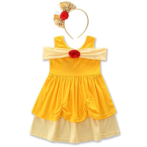 FYMNSI Little Girls Princess Birthday Snow White Belle Minnie Ariel Mermaid Cartoon Costume + Headband 2pcs Outfits Yellow 5 Years -