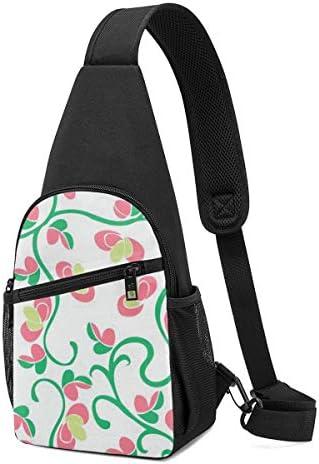 花の蔓 斜め掛け ボディ肩掛け ショルダーバッグ ワンショルダーバッグ メンズ 多機能レジャーバックパック 軽量 大容量