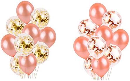 バルーンセット ピカピカ 風船 60個 12インチ ローズゴールド 誕生日飾り バルーン パーティー 飾り付け 紙吹雪風船 混合色 結婚式 プロポーズ 記念日お祝い バルーンリボン付き