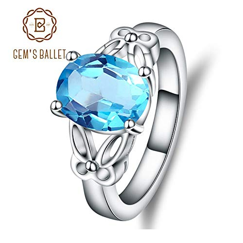 - Natural Swiss Blue Topaz Oval Gemstone Ring | Real 925 Sterling Silver Rings for Women | Solitaire Engagement Ring