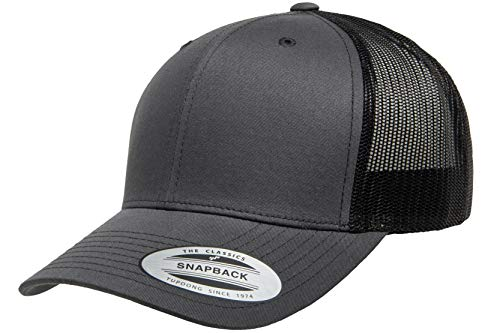 (Flexfit/Yupoong Retro Trucker Snapback Cap | Mesh Back, Adjustable Ballcap w/Hat Liner (Charcoal/Black))
