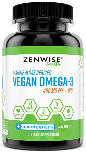 Vegan Omega 3 Supplement - Marine Algal Source of EPA & DHA Fatty Acids - Joint Support & Immune System - Heart & Skin + Brain Health Booster - Fish Oil Free Formula for Men & Women - 120 Softgels