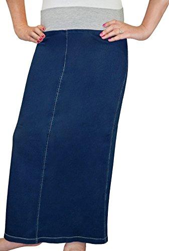 Kosher Casual Women's Modest Straight Maxi Length Denim Skirt Stretch Waistband No Slits 18 Stonewash - Straight Denim Skirt