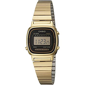 Casio Womens LA670WGA-1DF Daily Alarm Digital Gold-tone Watch