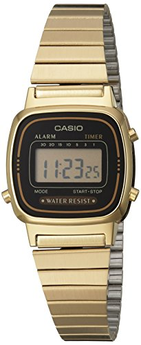 - Casio Women's Vintage LA670WGA-1DF Daily Alarm Digital Gold-tone Watch