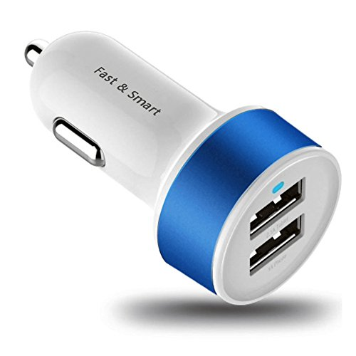 Energen 2-port, Dual Port Universal USB Car Charger Compatible with iPhone 6, 6+, iPhone 5 / 5s / 4 / 4s, iPod Touch, iPod Nano, iPad and iPad Mini 3.1 AMP. Compatible with Andriod Phones, All Tablets and Smart Phones. Portable Travel Charger.   (White) (Dark Blue)