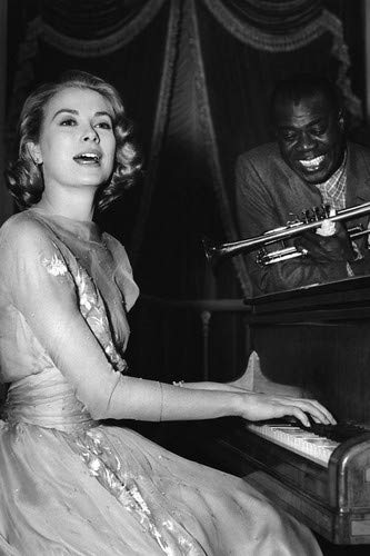 Armstrong Piano - Grace Kelly and Louis Armstrong in High Society playing piano 11x17 Mini Poster