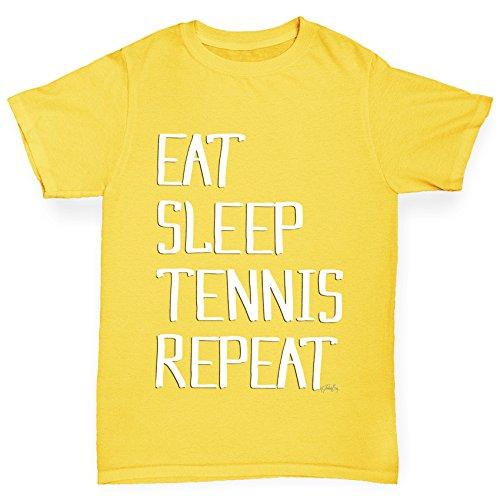 (TWISTED ENVY Boy's Eat Sleep Tennis Repeat Yellow T-Shirt Age 9-11)