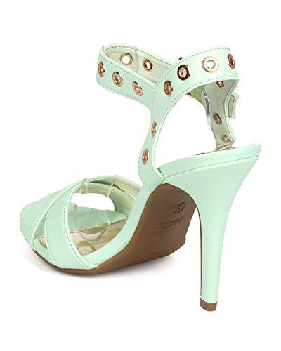 Dbdk Fa86 Kvinnor Konstläder Tvärband Peep Toe Genomförankelbandet Stilett Sandal Mint