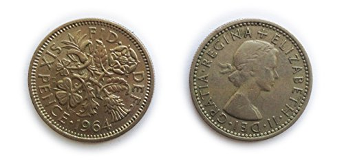 Coins for collectors - Circulated British 1964 Sixpence / Six pence 6p Coin / Great Britain