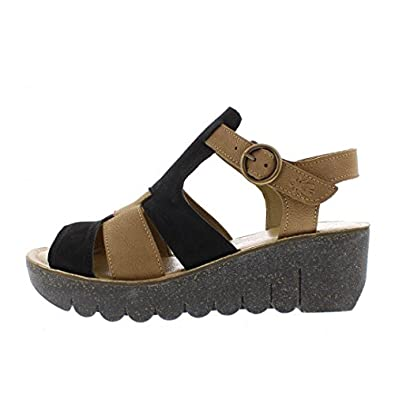 0e9635bf542f Fly London Yuni Black Sand Genuine Leather Mid Heel Wedge Sandals  Amazon.co .uk  Shoes   Bags