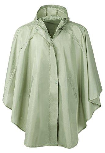 QZUnique Women's Waterproof Packable Rain Jacket Batwing-Sleeved Poncho Raincoat Green by QZUnique