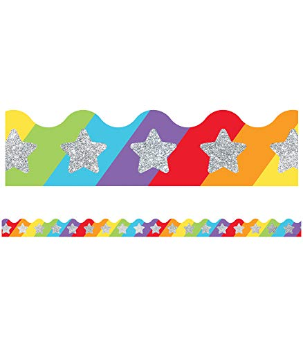 Carson Dellosa Education Sparkle + Shine Glitter Stars on Rainbow Scalloped Borders