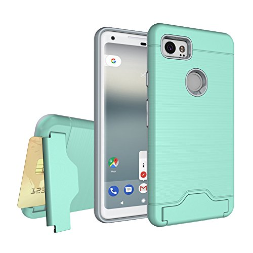 Zutoben Google Pixel2 XL Case Wire Drawing Dual Layer Shockproof Armor Hybrid Hard PC+TPU Soft Card Slot Holder Kickstand Pixel 2 XL (2017) Case Back Cover (Green)