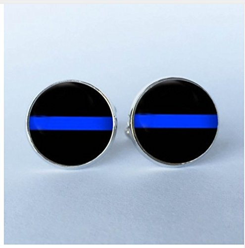 New Design Thin Blue Line Stud CuffLinks , Striped Jewelry, Black and Blue Cuff glass dome (Striped Dome)