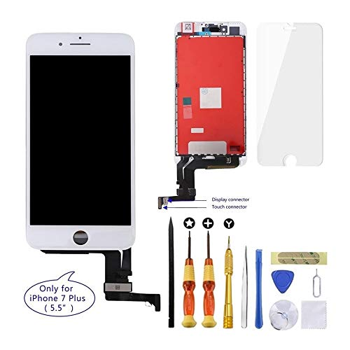 - GULEEK iPhone 7 Plus Screen Replacement 5.5 inch LCD Display 3D Touch Screen Digitizer Assembly Replacement Screen with Repair Tool kit/Tempered Glass Screen Protector/Instruction(White)