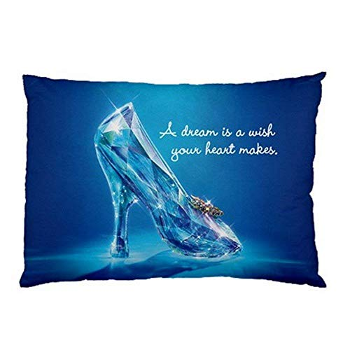 (printbeauew New Cinderella 2018 Glass Slipper Shoes with Quote Pillow Case (2 Sides))