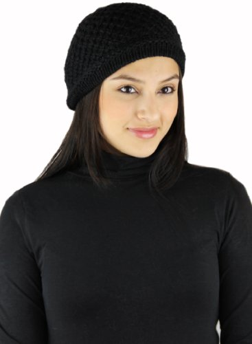 READY TO SHIP - Knitted PURE ALPACA Slouchy Beret - Classic Piano BLACK