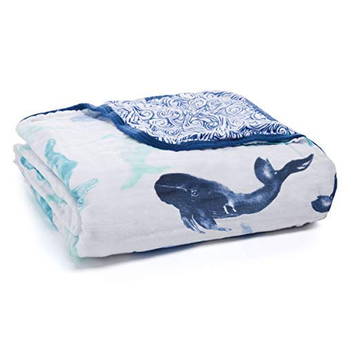 aden + anais Dream Blanket | Boutique Muslin Baby Blankets for Girls & Boys | Ideal Lightweight Newborn Nursery & Crib Blanket | Unisex Toddler & Infant Bedding, Shower Gift, Seafaring, Whale