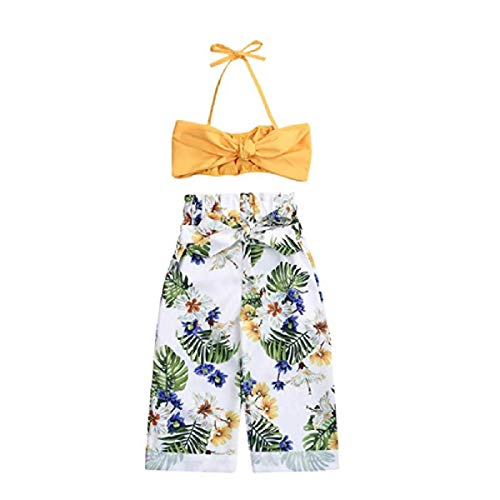 Toddler Baby Girls Outfit Halter Bowknot Strap Crop Tops + Floral Print Trousers Pants Set 1-5T (90cm:for 1-2 Years, Yellow)