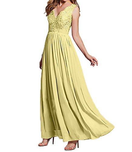 Lang Ballkleider Damen Abendkleider Chiffon Brautmutterkleider Festlichkleider Spitze A Gelb Hell Partykleider Linie Charmant wv4qHq