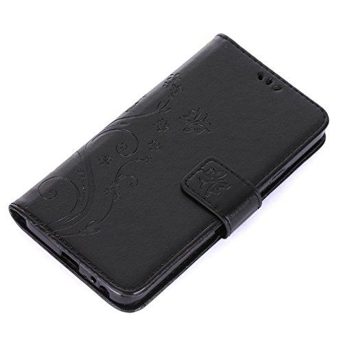 Yiizy LG Nexus 5X Funda, Hierba Flor Diseño Solapa Flip Billetera Carcasa Tapa Estuches Premium PU Cuero Cover Cáscara Bumper Protector Slim Piel Shell Case Stand Ranura para Tarjetas Estilo (Negro)