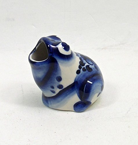 (FROG RUSSIAN PORCELAIN FIGURINE Toothpick Holder #0117)