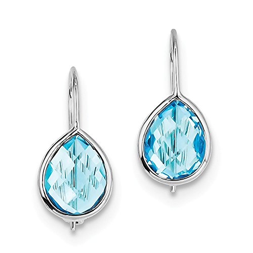Sterling Silver Rhodium Plated Lt Swiss Blue Topaz Teardrop Earrings by CoutureJewelers