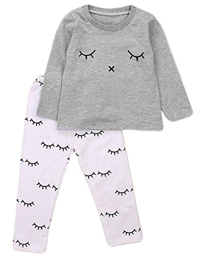 StylesILove Baby Girl Lovely Eyelash Pattern Printed Cotton Long Sleeve Top and Pants 2 pcs Outfit (90/12-18 - Girl Lash