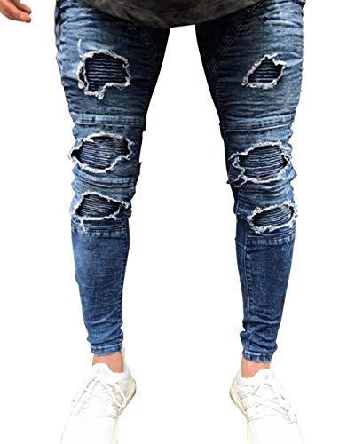 Da Holes Fit Pantaloni Strech Chern Destroyed Giovane Skinny Denim Vintage Uomo Slim Blau Jeans q5xgU5