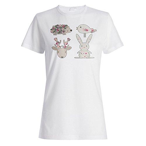 Arte Lindo Divertido De Los Animales camiseta de las mujeres o260f