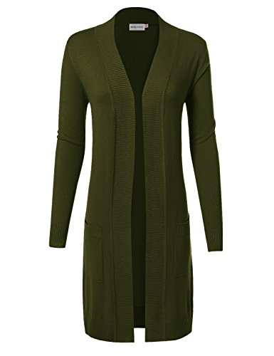 MAYSIX APPAREL Long Sleeve Long Line Knit Sweater Open Front Cardigan W/Pocket For Women Olive S (Open Green Line)