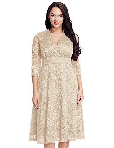 Women's Lace Plus Size Mother of the Bride Skater Dress Bridal Wedding Party Apricot 20W