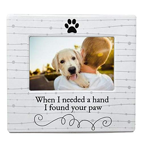 BANBERRY DESIGNS Dog Lover Picture Frame - When I Needed a Hand I Found Your Paw Ceramic Photo Frame - Pet Photo Displayer for Tabletop, Desk- Gifts for Dog or Cat Lovers