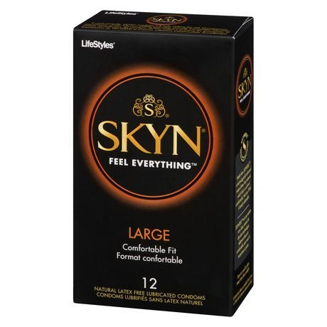 Lifestyles SKYN Large, Premium LARGE NON-LATEX Lubricated Condoms with Pocket/Travel Case-12 Count (Brass Travel Case)