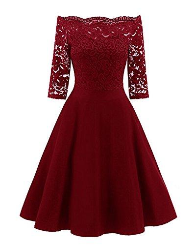 Shoulder 3/4 Sleeve Dress - GAMISS Women's Vintage Off Shoulder Cocktail Dress Floral Lace 3/4 Sleeves Wedding Dress Red M