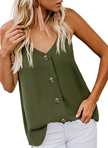 Shawhuwa Women's Button Down V Neck Strappy Tank Tops Loose Casual Sleeveless Shirts Blouses for Shorts Green Small