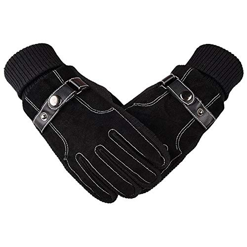 URIBAKE Men's Thicken Gloves Windproof Screen Touch Anti Slip Pigskin Outdoor Bicycle Sport Gloves