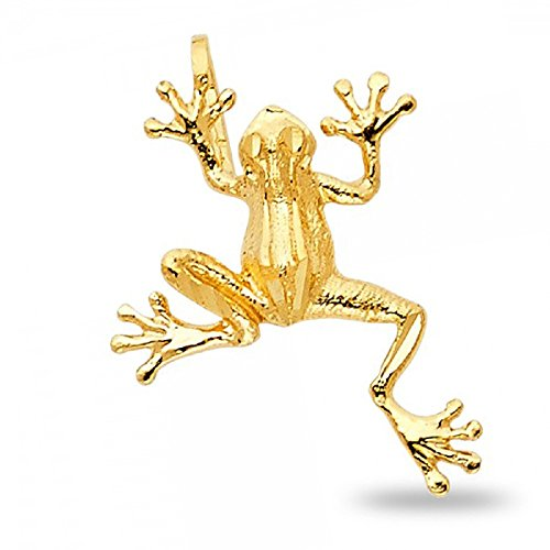 Frog Pendant Solid 14k Yellow Gold Charm Polished Fashion Style Genuine 15 x 11 mm