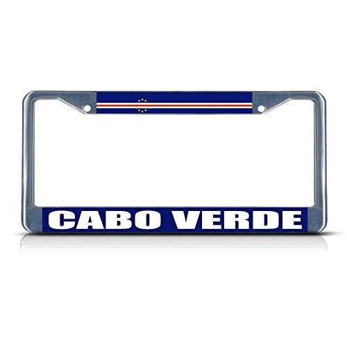 Cabo Verde Cape Verde Flag Metal License Plate Frame Tag Border Two Holes Perfect for Men Women Car garadge Decor