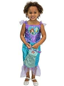 Disney Disfraz Vestido y Bolso para Niñas La Sirenita Ariel Morado 7-8 Años