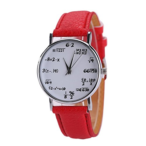 "Price comparison product image Fineshow Kids Boy Girl ""Time Teacher"" PU leather Band Dress White Dial Wrist Watch,Red"