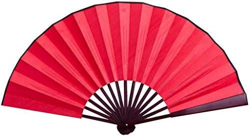 折りたたみ手のファン 絹布ブランク扇子木製竹古代扇子中国風観賞用プロップファン (Color : Red)
