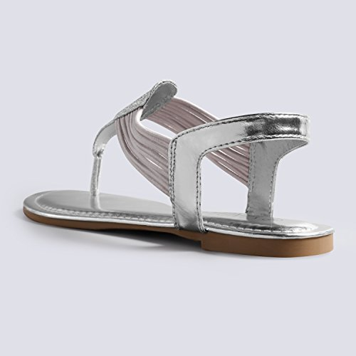 Thong Elastic Women For Silver Strappy Sparkling Sandalup Ankle Strap Sandals wt4Sqx4